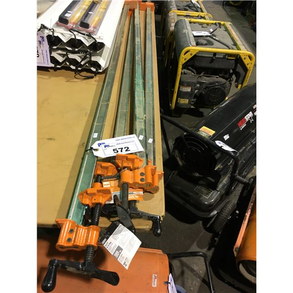 """4 JORGENSEN 72"""" HEAVY DUTY I-BAR CLAMPS WITH 7000LBS CLAMP PRESSURE"""