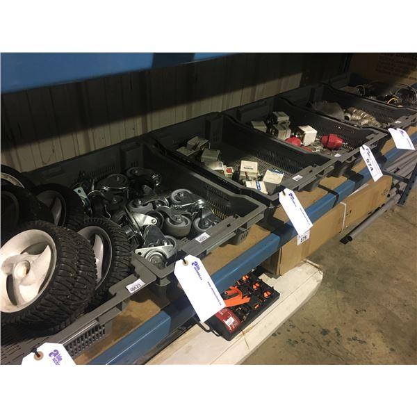 SHELF OF WHEELS, FITTINGS, AND MORE