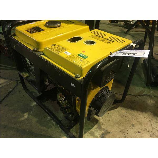 YELLOW PORTABLE GENERATOR 5000CXE INDUSTRIAL DIESEL POWERED GENERATOR