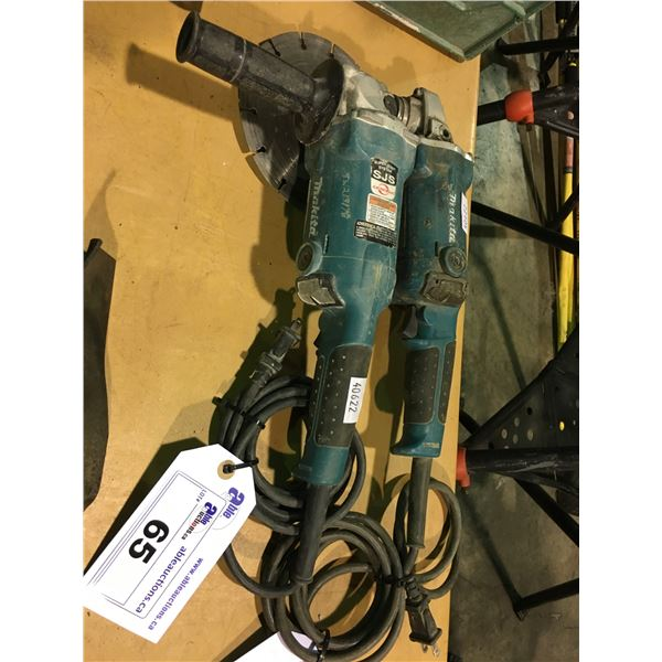 2 MAKITA 120V CORDED GRINDERS WITH 1 CUT OFF WHEEL