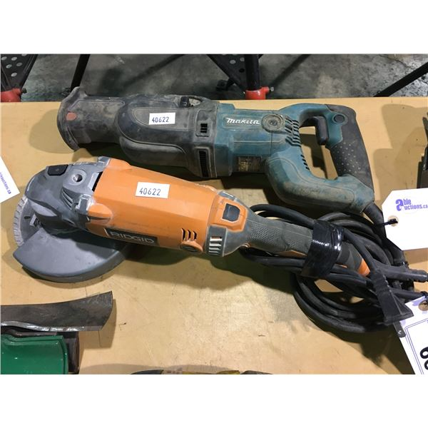 MAKITA 120V CORDED RECIPROCATING SAW AND RIDGED 120V CORDED GRINDER WITH 1 CUT OFF WHEEL