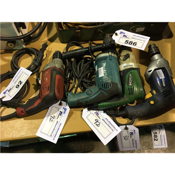 4 ASSORTED 120V CORDED DRILLS