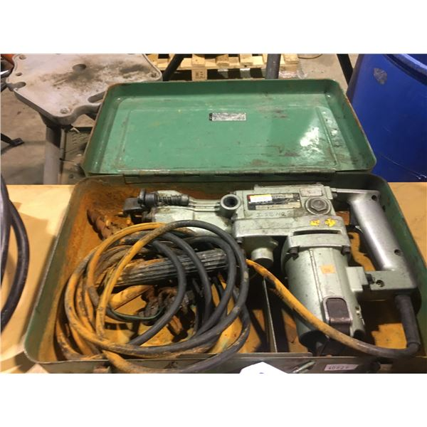 HITACHI PR-38E 120V CORDED HAMMER DRILL WITH ASSORTED BITS AND METAL CARRY CASE