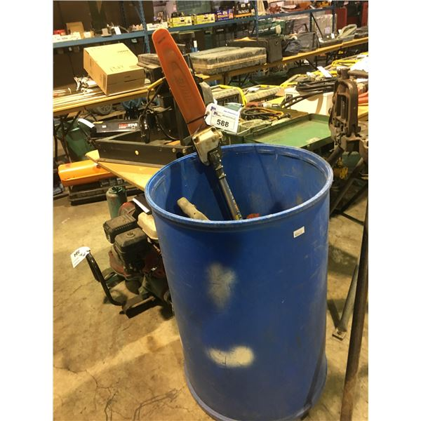 LARGE BLUE PLASTIC BIN OF ASSORTED POWER TOOLS INCLUDING HILTI TE 76P CONCRETE HAMMER DRILL,