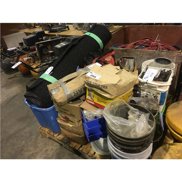 PALLET OF ASSORTED HARDWARE, FASTENERS, AND SAFETY EQUIPMENT