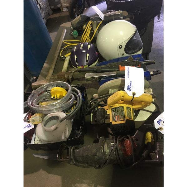 LOT OF ASSORTED POWER TOOLS, HAND TOOLS, HELMETS AND OXYGEN TANK (CERTIFICATION UNKNOWN)
