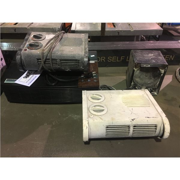 3 SMALL PORTABLE HEATERS AND ORECK XL AIR PURIFIER