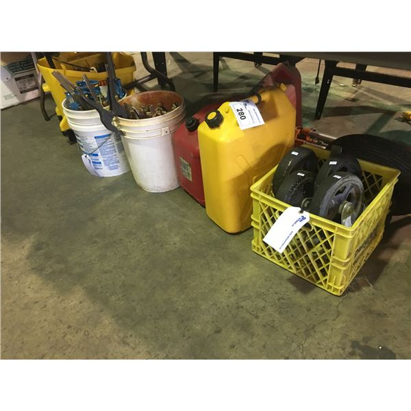2 PALS OF ASSORTED CLAMPS, 2 GAS CANISTERS, MOBILE MOP BUCKET AND 4 LARGE CASTER WHEELS