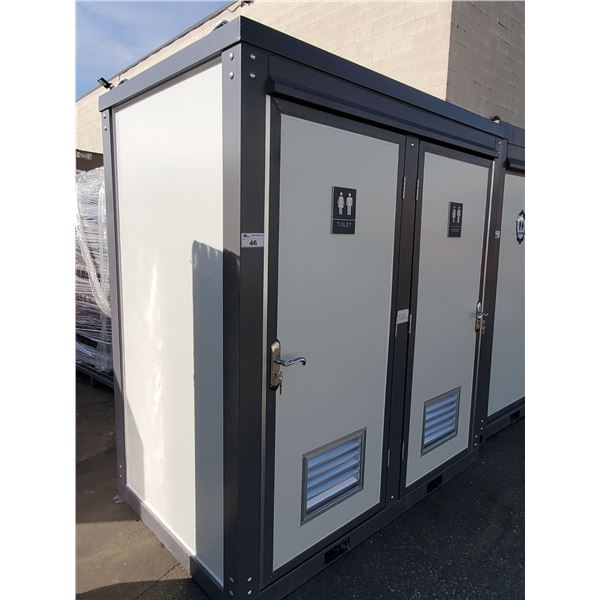 NEW BASTONE LOCKING PORTABLE MOBILE DOUBLE TOILET, WITH TWO TOILETS, TWO SINKS, FANS, & KEYS