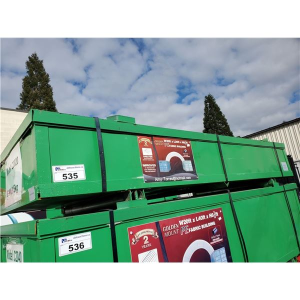 GOLDEN MOUNT CONTAINER MOUNTED PE FABRIC BUILDING H6.5' X L40' X W20' UV PROTECTION, LEAK RESISTANT