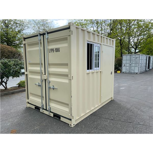 """BEIGE PORTABLE OFFICE CONTAINER W87"""" X L108"""" X H99"""" WITH WINDOW AND LOCKING MAN DOOR"""