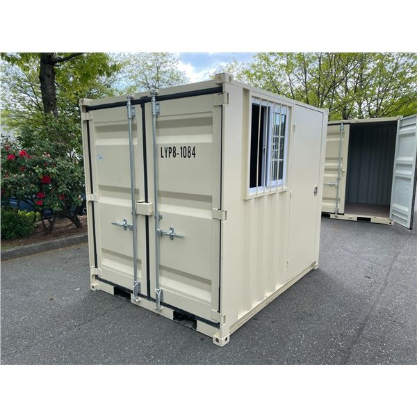 """BEIGE PORTABLE OFFICE CONTAINER W78"""" X L98"""" X H89"""" WITH WINDOW AND LOCKING MAN DOOR"""