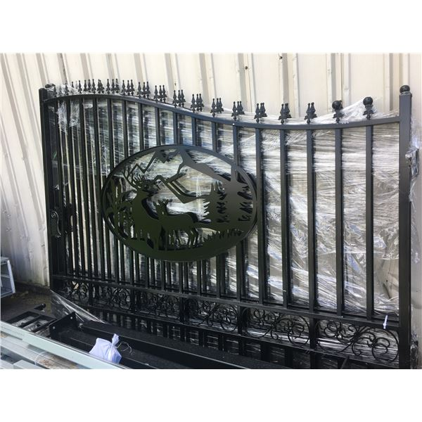 GREATBEAR BLACK 20' BI-PARTING WROUGHT IRON GATE WITH DEER ARTWORK IN CENTER