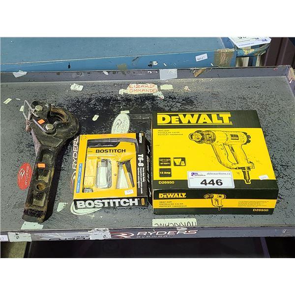 DEWALT D26950 HEAT GUN, BOSTITCH T6-8 HEAVY DUTY TACKER, AND PINTLE HOOK TRAILER HITCH