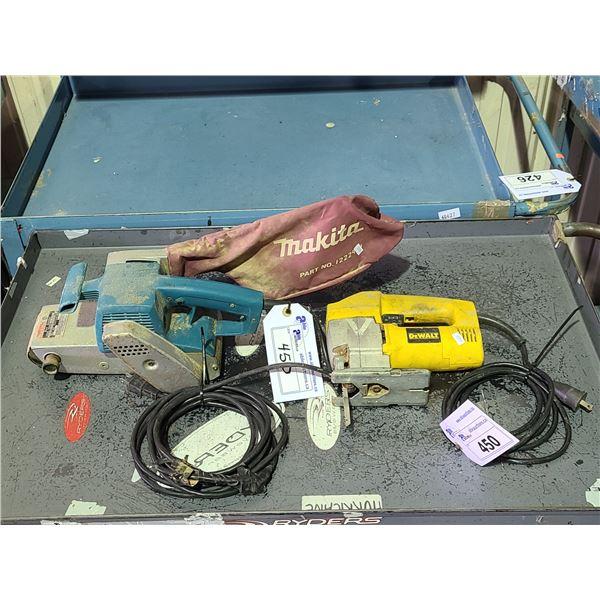 DEWALT DW313 120V CORDED JIGSAW AND MAKITA 9924DB 120V CORDED BELT SANDER