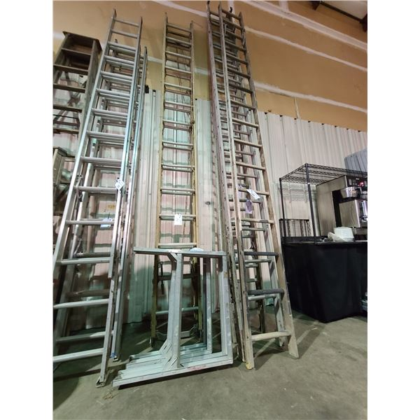 2 ALUMINUM WIDE STEP LADDERS AND FIBER GLASS 28' EXTENSION LADDER