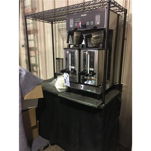 STAINLESS COMMERCIAL DUAL COFFEE BREWING STATION WITH HOT WATER TAB AND BLACK METRO STYLE RACKING