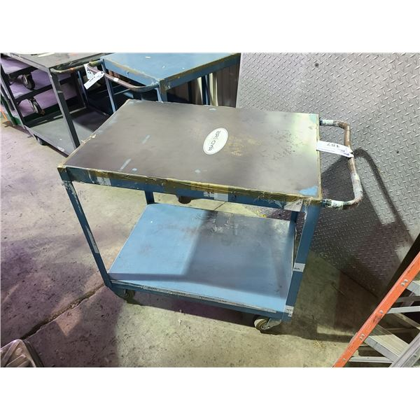 BLUE INDUSTRIAL 2 TIER MOBILE METAL PRODUCT CART
