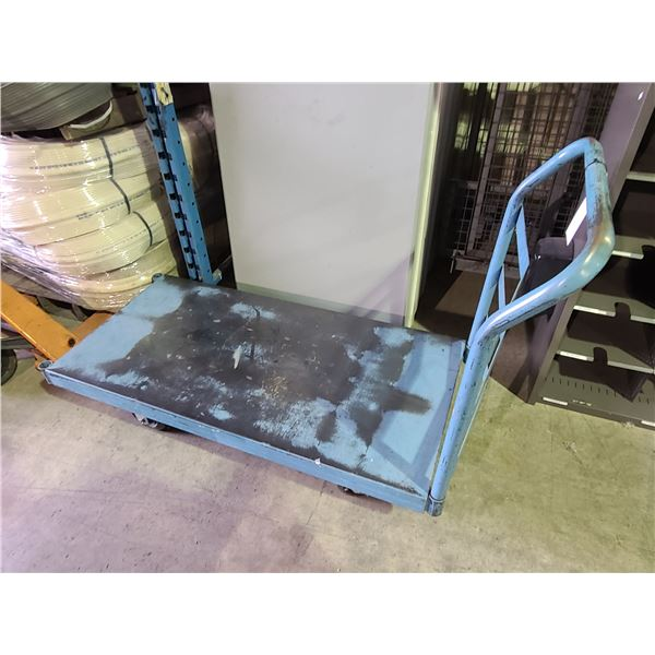 BLUE INDUSTRIAL FLATBED MOBILE METAL PRODUCT CART