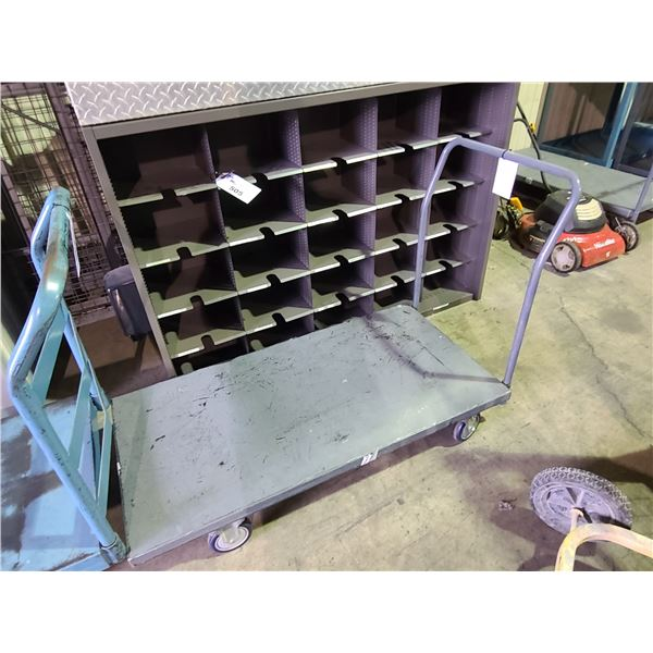 GREY INDUSTRIAL FLATBED MOBILE METAL PRODUCT CART