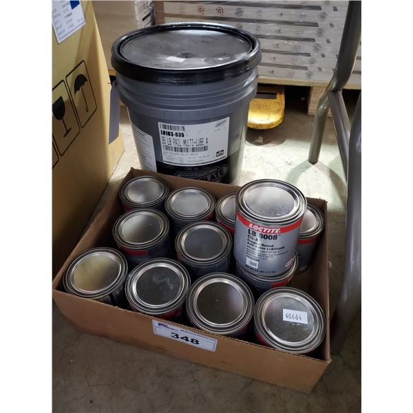 LOT OF ASSORTED LOCTITE LB8008 ANTI SEIZE LUBRICANT, PAIL OF MULTI LUBE, EYE WASH BOTTLES