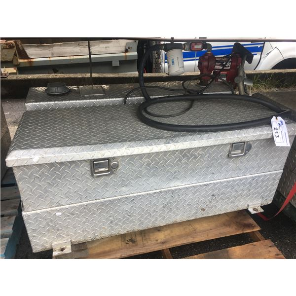 UWS STAINLESS STEEL CHECKER PLATE REFUELING TANK AND TOOLBOX COMBINATION WITH 12V REFUELING PUMP