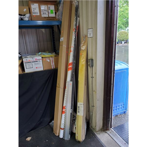 4 ASPHALT RAKES, GLASS TUBING, STRETCHER BOARD REPLACEMENT PARTS
