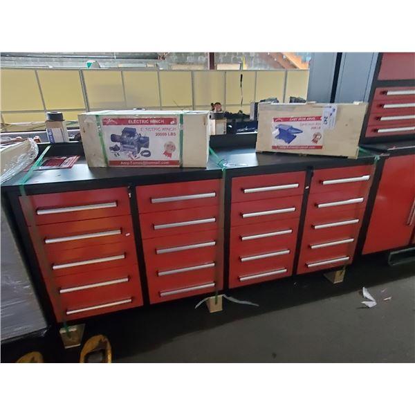 "RED STEELMAN 20 DRAWER WORK BENCH H36"" X W87"" X D26"" WITH ANTI-SLIP LINING"