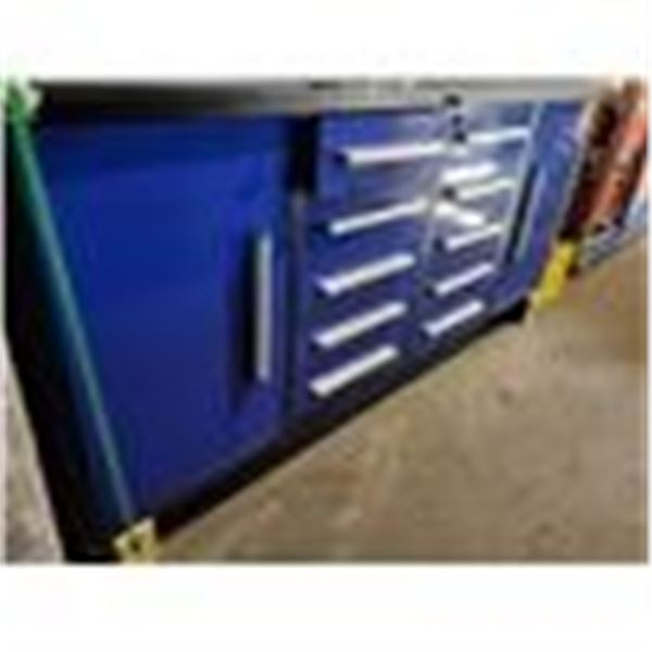 "BLUE STEELMAN 10 DRAWER WORK BENCH H36"" X W87"" X D26"" WITH ANTI-SLIP LINING"