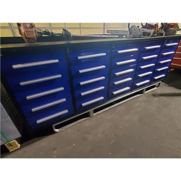 "BLUE STEELMAN 25 DRAWER WORK BENCH H36"" X W113"" X D29"" WITH ANTI-SLIP LINING"