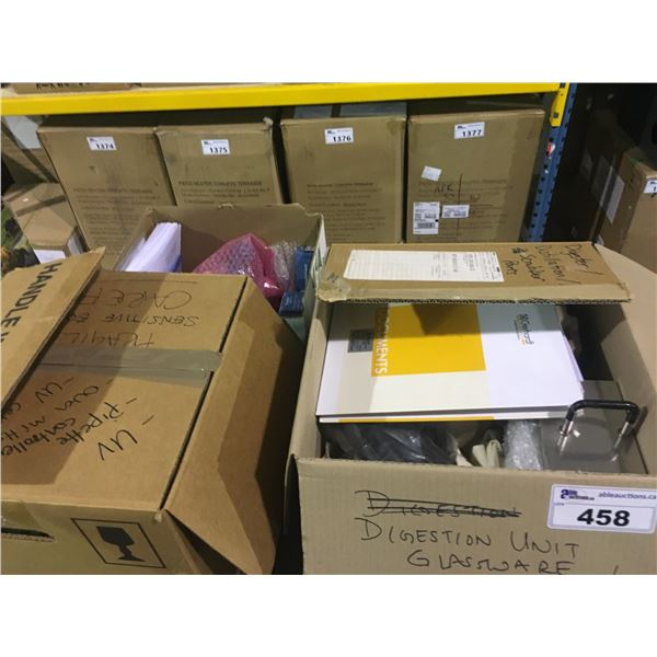 3 BOXES OF LAB EQUIPMENT, TITROLINE 5000, MANUALS, AND MORE