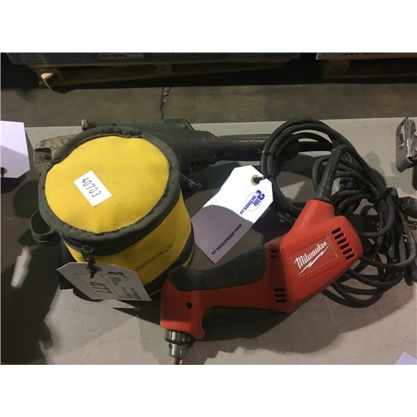 MILWAUKEE DRILL, BLACK AND DECKER GRINDER, AND LASER LEVEL