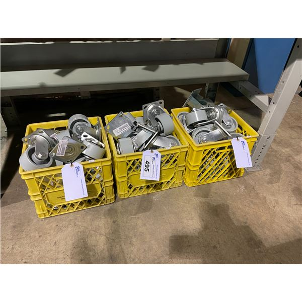 3 YELLOW CRATES OF HEAVY DUTY CASTERS