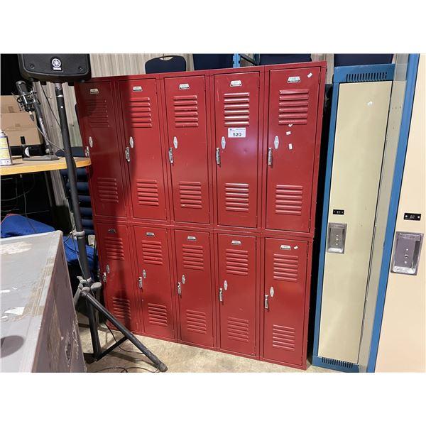 """10 BAYS OF 36"""" TALL SINGLE DOOR RED METAL LOCKER SYSTEM"""