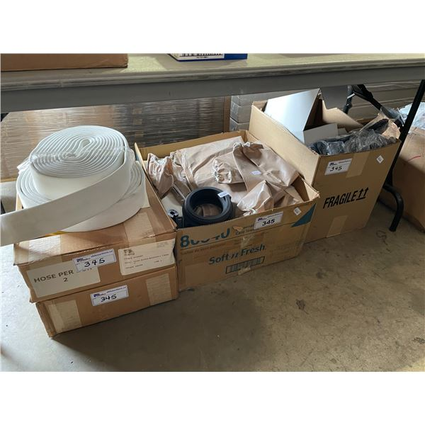 BOX OF STORAGE POUCHES, SAFETY COVERALLS, AND MARSHALL SUPER HOSE
