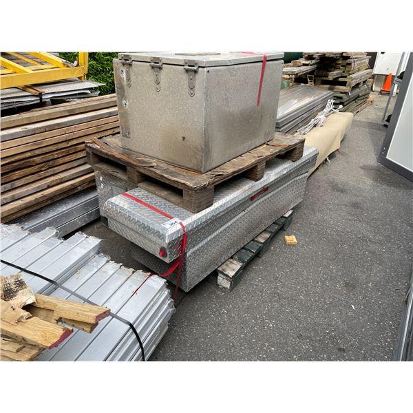 2 ALUMINUM CHECKER PLATE TOOL STORAGE BOXES - MINOR DAMAGE