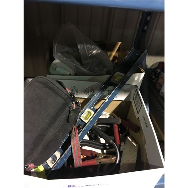 2 BOXES OF ASSORTED TOOLS, JUMPER CABLES, AND MORE