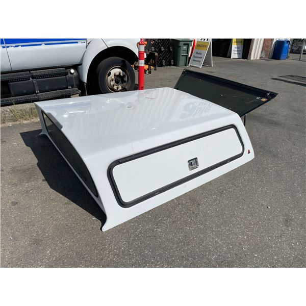 WHITE HARDTOP TRUCK BOX CANOPY WITH OPENING REAR WINDOW