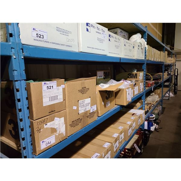 SHELF OF ASSORTED 3M RESPIRATORS, REPLACEMENT PARTICULATE FILTERS AND PLASTIC STORAGE BAGS