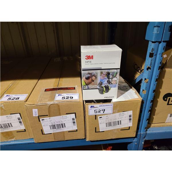 2 BOXES OF 10 3M PELTOR X4P3E INDUSTRIAL CAP-MOUNT EARMUFFS, NOISE REDUCTION RATING - 25 DECIBELS
