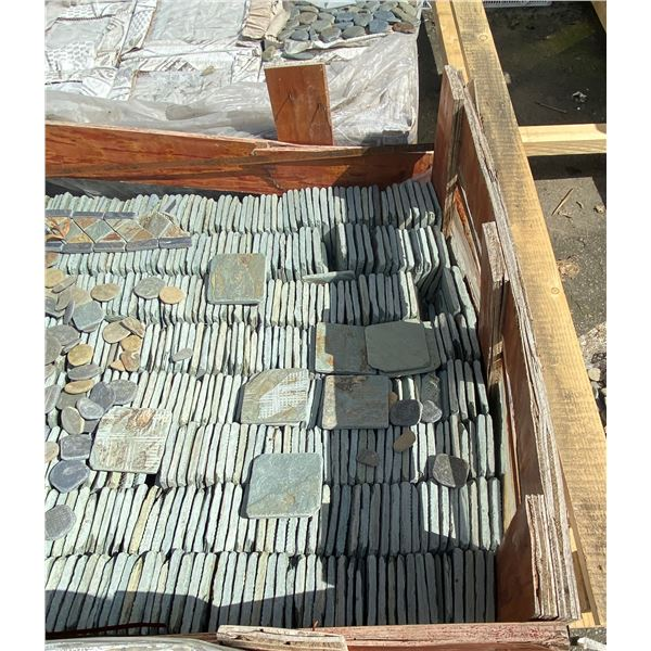 A pallet of small square stones