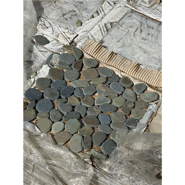 A pallet of small stone tiles