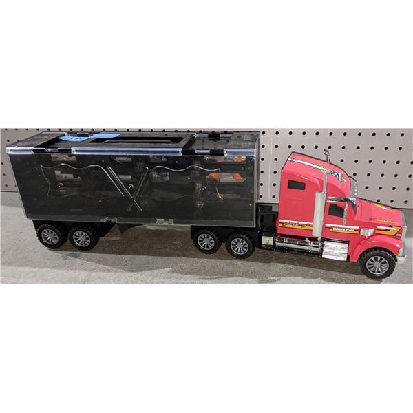 Toy 18 Wheeler with Smaller Cars