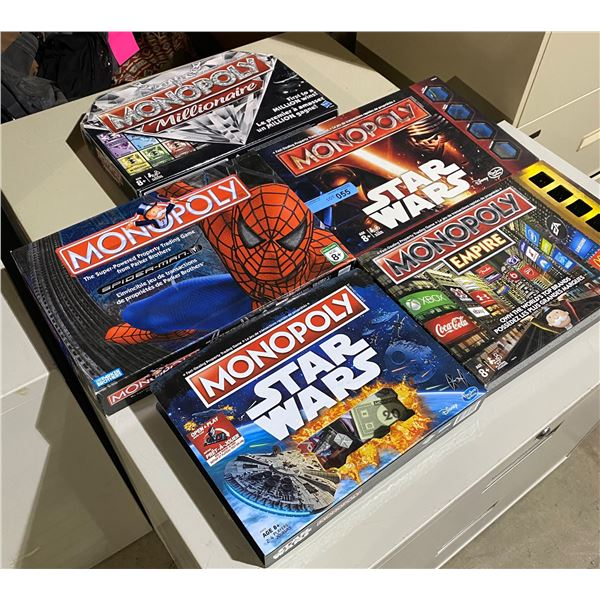 Lot of 5 Monopoly Board Games
