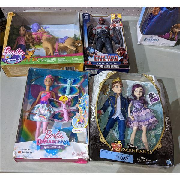 Lot of 6 Toys in Box (Disney, Marvel, Barbie, Monster High)