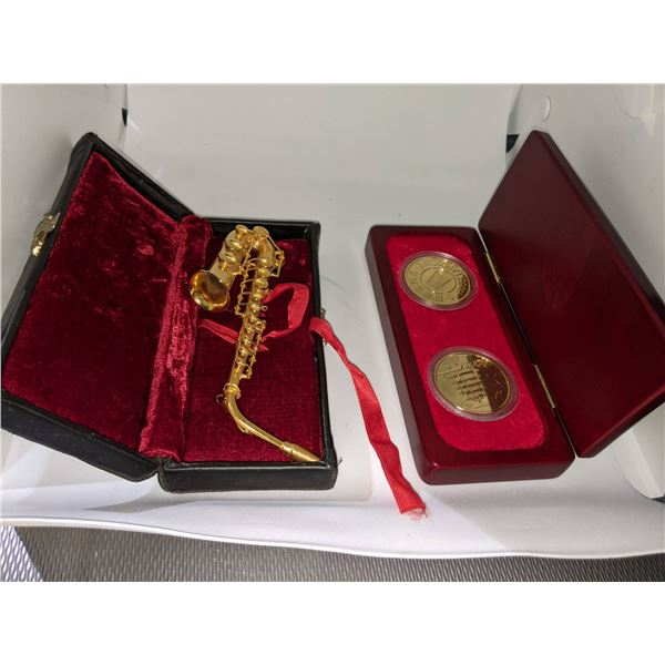 Golden Saxophone & Coins and Carved Mini Decor Items