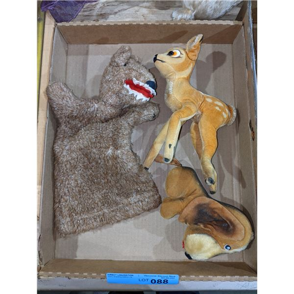 Three collectible stuffed toys including Bambi dog puppet