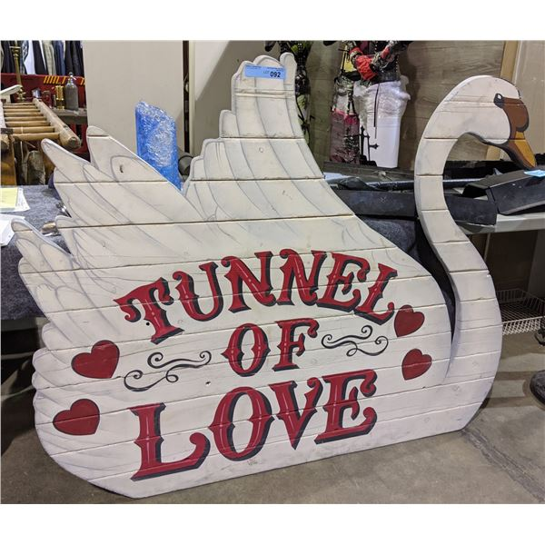Swan 'Tunnel of Love'  Wooden Sign Board