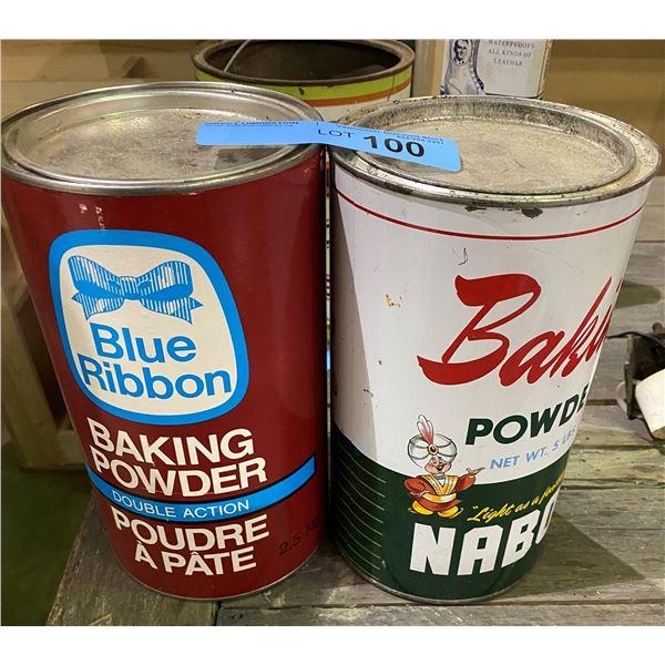 2 Tin Cans (blue ribbon baking powder and nabob baking powder)
