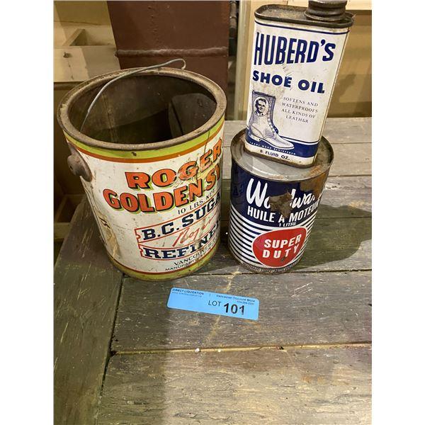 Rogers sugar tin, huberd's and woodward's motor oil tin box